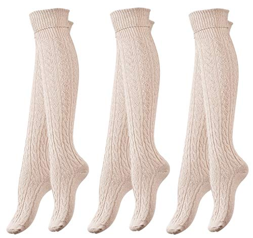 airs of Women's Knee High Cotton Boot Socks Cable Patterned (Beigè) ()