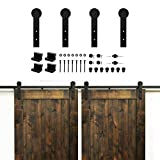 Kirin 9 FT Sliding Wood Barn Door Hardware Kit Black Heavy Duty Interior Rolling Door Track Set for Double Doors with Classic I Shape Flat Hangers and 9ft Rail