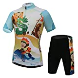 Free Fisher Kids Unisex Cycling Suit Jersey + Padded Shorts,Golden and black,11-12 Years
