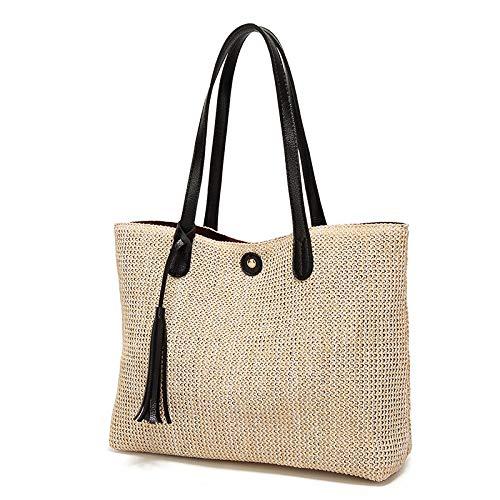 MU.RTY Pattern Weave Woman Fashion Beach Crochet Straw Shoulder Handbags Summer Bag Women Basket Neutral Female Handbag Woven Black ()