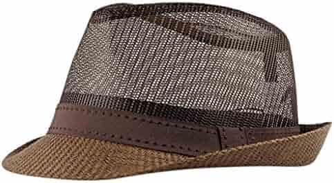 c9c0e68fd8e Salaks Unisex Packable Elegant Trilby Short Brim Hollow Breathable Roll up Hat  Fedora Beach Sun Hat