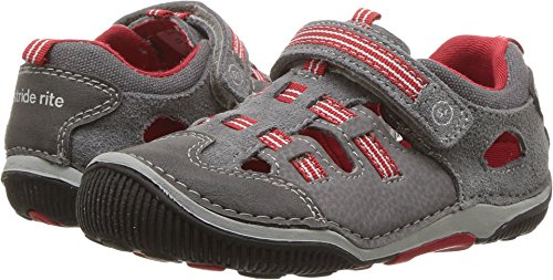 Canvas Fisherman Sandals - Stride Rite Boys' SRT Reggie Fisherman Sandal, Grey, 4 Wide US Toddler
