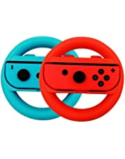 Volante Nintendo Switch,Joy-Con Racing Wheel Controladores Handle Grips para Nintendo Ergonomic Design Switch Mario Kart (Azul y Rojo)