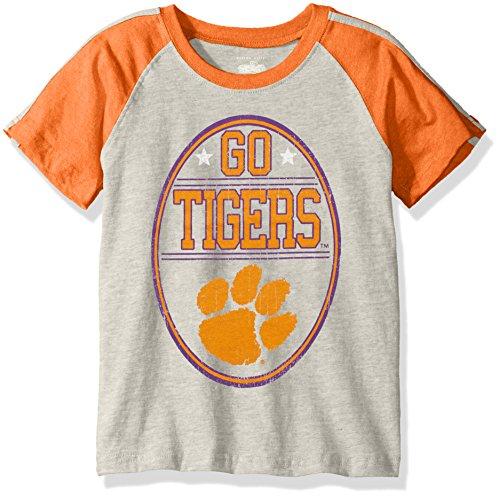 - NCAA Boys Raglan Short Sleeve Stripe Tee,Clemson Tigers,Orange,4T