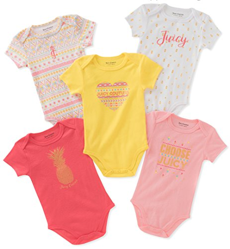 Juicy Couture Baby Girls 5 Packs Bodysuit, Pink/Coral/Yellow, 0-3 Months (5 Girl Bodysuit Pack)