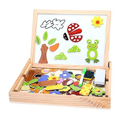 Kloius Magnetisches Holzpuzzle mit Doppelseitiger Tafel Doppelseitiges Magnetisches Bunten Tierformen Holzpuzzle Puzzle aus Holz
