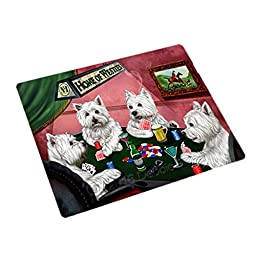Home of 4 West Highland White Terriers Dogs Playing Poker Large Stickers Sheet of 12