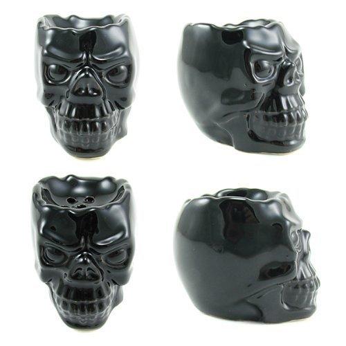 Black Skull Ceramic Bowl for Hookah, Huka, Shisha, Pipe