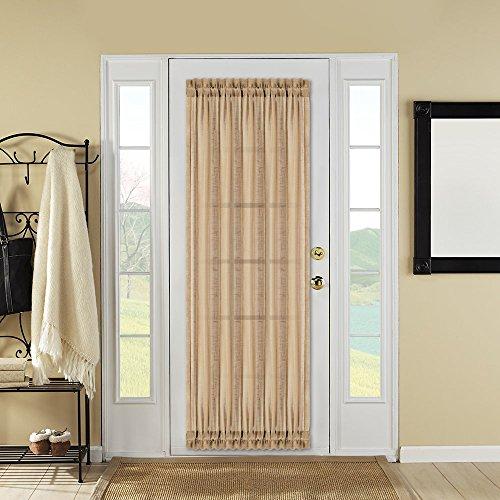Best Dreamcity One Piece Faux Linen Sheer French Door Curtain Panel With Bonus Tieback, 52″W X 72″L, Grey-Brown