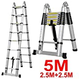 Oshion 16.5ft EN131 Aluminum Telescoping Telescopic Extension Ladder 330 Pound Capacity
