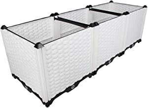 BAOYOUNI Raised Garden Bed Kit DIY Plastic Planter Box for Growing Fresh Vegetables, Herbs, Flowers & Succulents in Balcony, Rooftop, Patio or Yard, White, 46.06'' x 15.35'' x 14.96''
