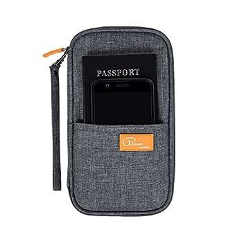DOKEHOM Travel Wallet Passport Holder Cover, RFID Document Organizer with Hand Strap (Dark Grey, M)