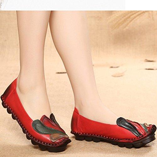Vogstyle La Mujer Hechos A Mano Patrón Multicolor De Cuero Zapatos Estilo 3 Rojo