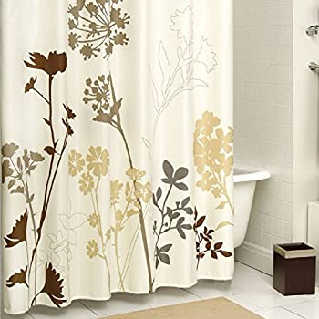 dp com bath flower mildew fabric waterproof resistant curtain silhouette curtains plants shower amazon ds ac