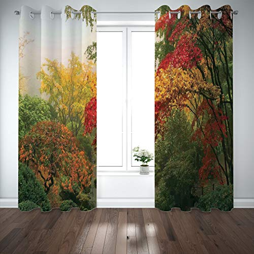 SCOCICI Grommet Polyester Window Curtains Drapes [ Country Home Decor,Maple Trees in The Fall at Portland Japanese Garden One Foggy Morning Scenery,Red Yellow Green] Living Room Bedroom Kitchen Cafe from SCOCICI