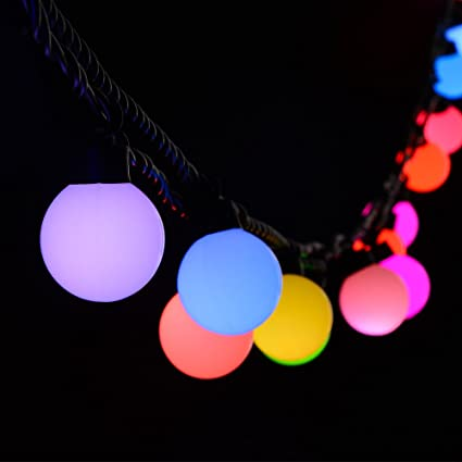 wootop christmas lights 20 led 18ft rgb globe string lights 7 color changing fairy