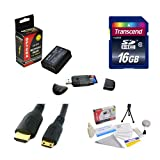 Transcend 16GB SDHC Class 10 Memory Card and Opteka LP-E10 LPE10 2000mAh Battery Package for Canon EOS Rebel T3 T5 1100D 1200D Kiss X50 DSLR Digital Camera