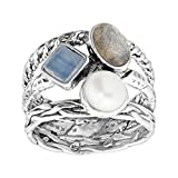 Silpada 'Day Trip' 1 1/6 ct Natural Labradorite & Kyanite & 6-6.5 mm Freshwater Cultured Pearl Ring in Sterling Silver Size 11