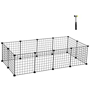 SONGMICS Pet Playpen Includes Cable Ties, Upgrade Customizable Animal Fence, Metal Wire Pen Fence for Small Animals, Bunnies, Rabbits, Guinea Pigs, Includes Rubber Mallet for Indoor Use ULPI01H 64