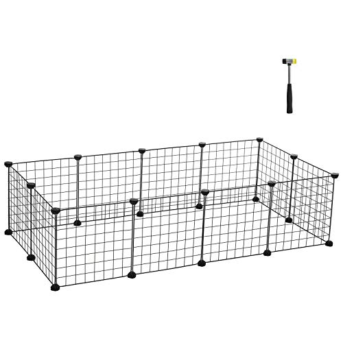 SONGMICS Pet Playpen Includes Cable Ties,Upgrade Customizable Animal Fence, Metal Wire Pen Fence for Small Animals,Bunnies, Rabbits, Puppy & Guinea Pigs, Includes Rubber Mallet for Indoor Use ULPI01H