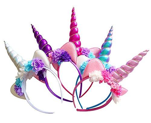 MarJunSep Unicorn Horn Headband,5 Pack Shiny Unicorn Horn Headdress Ears Flower Headband for Halloween Party Birthday Cosplay Costume -