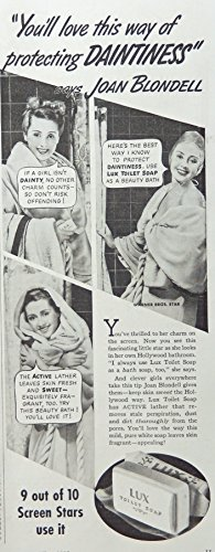 Lux Toilet Soap, 30's Vintage Print Ad. B&W Illustration. Original Rare 1938 Woman's World Magazine Art - 1938 Art