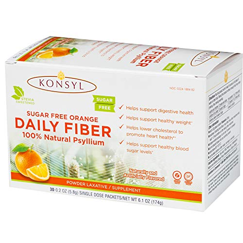 Konsyl Daily Fiber Orange 100% Natural Psyllium Husk Powder - Sugar Free and Gluten Free - 30 Individual Packets ()