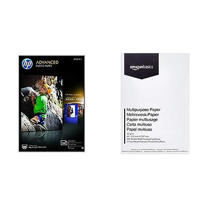 HP Advanced Q8692A - Papel fotográfico (100 hojas, 10X15 cm) & AmazonBasics Papel multiusos para impresora A4 80gsm, 1 paquete, 500 hojas, blanco