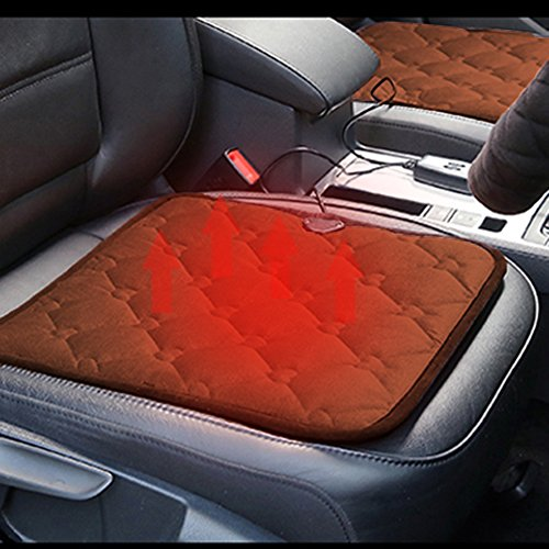 Comfortable Quick Warming Heated Car Seat Cushion Pad Auto 12V Heater Warmer Pad Hot Cover Automobile Heating Mat for Cold Weather and Winter Driving  (Coffee)