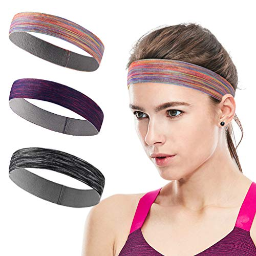 Sports Headband Sweatbands Workout Headbands for Men Women 3-Pack Sweat Wicking Hair Bands for Yoga Running Elastic Non Slip