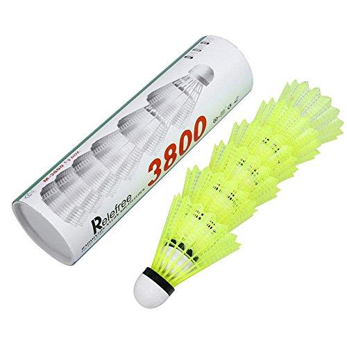 Relefree Badminton Shuttlecocks Birdies Set-Pack of 6 Yellow Nylon Training Outdoor Plastic Badminton Ball