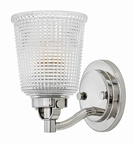 Sconce Chrome Hinkley (Hinkley 5350PN Transitional One Light Bath Wall Sconce from Bennett collection in Chrome, Pol. Nckl.finish,)