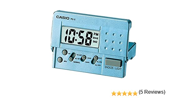 Reloj Despertador CASIO PQ-10D-2R - Despertador Digital de viaje con luz y repetición. Color azul: Amazon.es: Relojes
