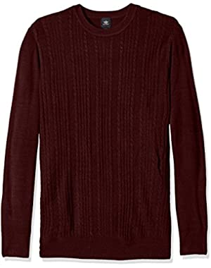 Men's Big and Tall Soft Acrylic Solid Multi Cable and Texture-Crew