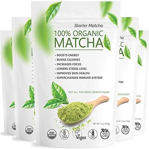Starter Matcha Set of 5 (5x12oz) USDA Organic Matcha Bulk   Natural Matcha Green Tea Powder   Matcha Tea Weight Loss   Sugar Free Matcha Green Tea Powder
