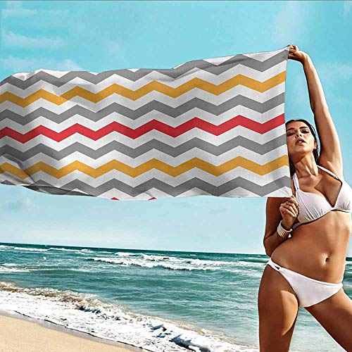 (Antonia Reed Beach Bath Towel Chevron,Retro Chevron Pattern Abstract Waves Happiness Contrasting Colors Creativity,Grey Marigold Red,Suitable for Home,Travel,Swimming Use)