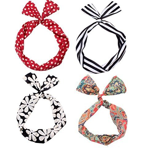 Set of 4 Multi Function Mixed Design Wired Twist Bow Hair...