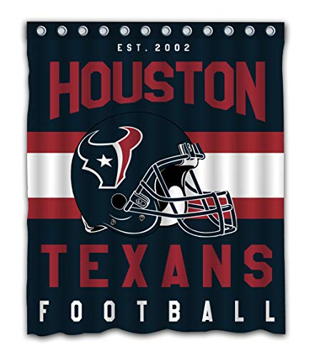 Weckim Custom Houston Football Team Waterproof Fabric Shower Curtain Colorful Design for Bathroom Decor 12 Holes Size 60x72 Inches