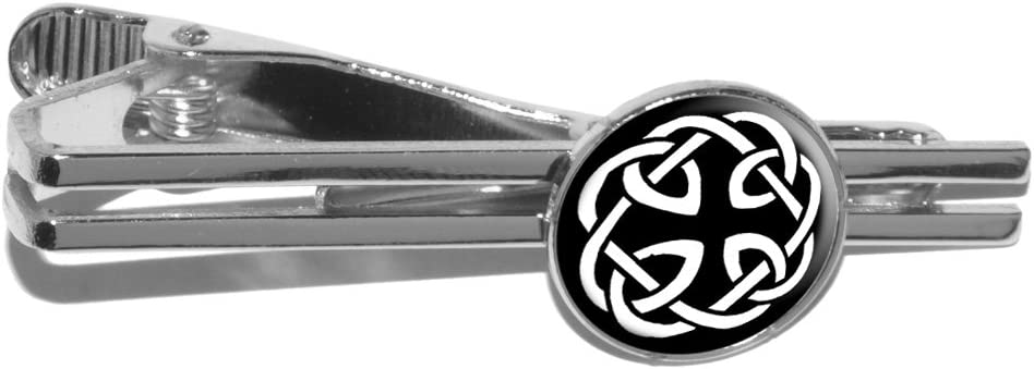Celtic Knot Round Tie Bar Clip Clasp Tack - Silver