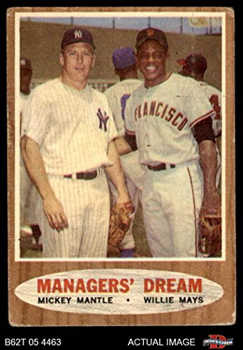 1962 Mickey Mantle (1962 Topps # 18 Managers' Dream Mickey Mantle / Willie Mays Giants / Yankees (Baseball Card) Dean's Cards 1.5 - FAIR Giants / Yankees)