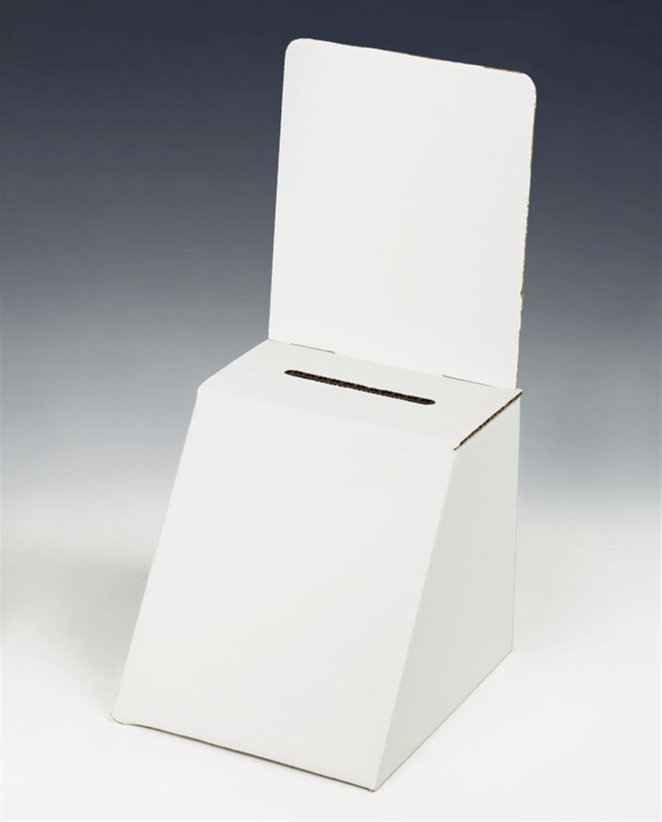 Displays2go White Cardboard Ballot Box, Set of 25 with Removable Header for Countertop Use (RBWC57) by Displays2go