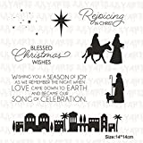 human figure stencil - Gold Happy 5Pcs/lot 1414cm 185110MM Clear Stamps Metal Cutting Dies for Scrapbooking Bethlehem Building Dies Stamp Stencil