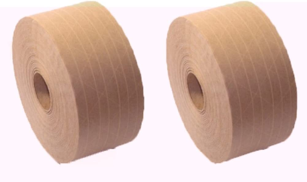 2.75 Inches x 375 Feet Reinforced Gummed Kraft Paper Tape Water Activated 3 PACK