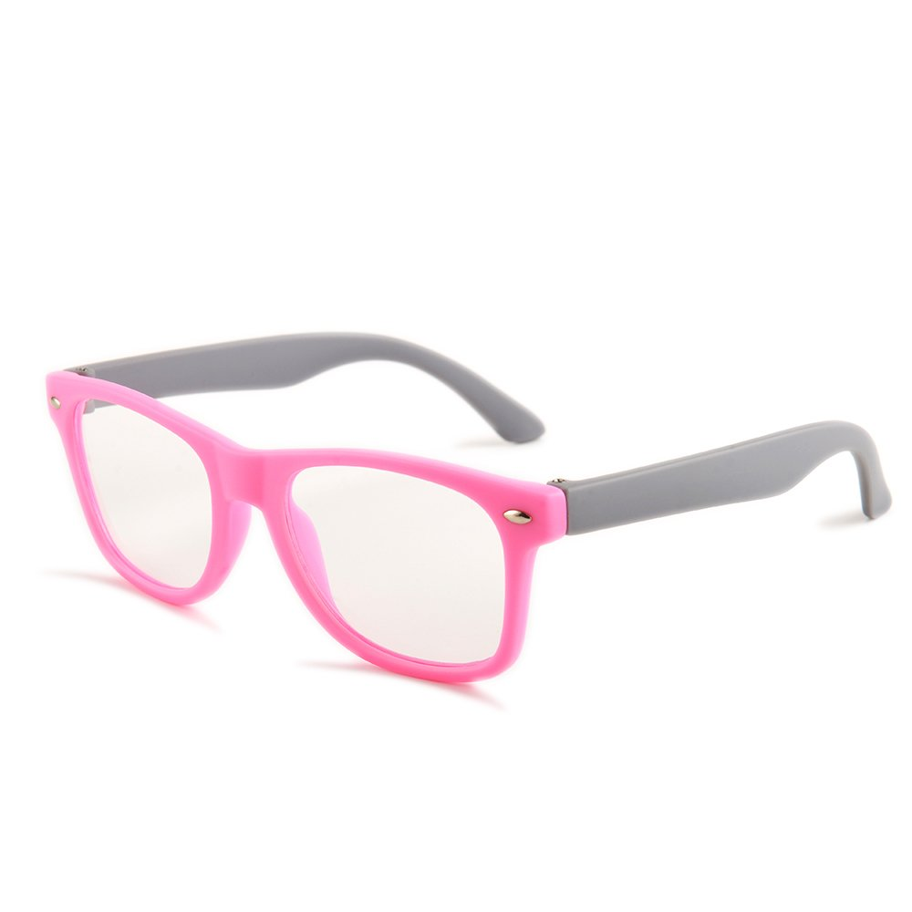 Gudzws Kids Anti Blue Light Glasses Rectangle Plastic Frame Protect Eyesight from Digital Display Computer TV Boys Girls Child Unisex Pink (Suitable for 5-12 Years Old) by Gudzws (Image #1)