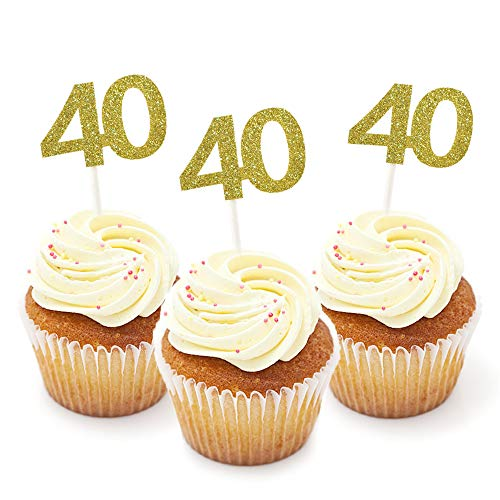 HZOnline Cupcake Cake Toppers 40th Birthday, Golden Glitter Number 40, Birthday Celebrating, Anniversary Party Decor (24PCS) -
