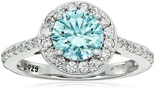 Swarovski Mint - Platinum-Plated Sterling Silver Round-Cut Frosty Mint Halo Ring made with Swarovski Zirconia, Size 6