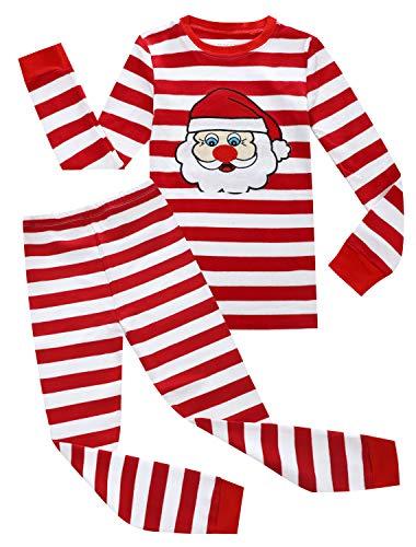 Kids Pajamas Hop Boys Christmas Pajamas Toddlers Santa Claus Pjs Red White Stripes Clothes (Red,4T)
