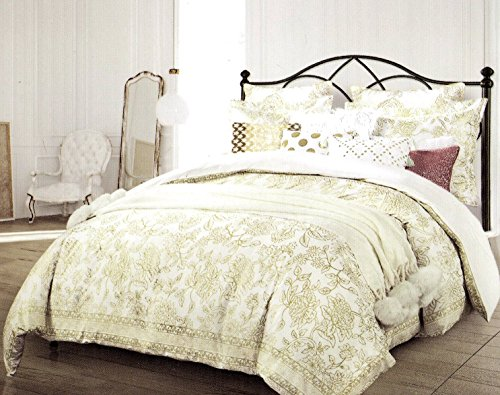 Tahari Gold and White Bohemian Tapestry Bedding Crisp Cotton