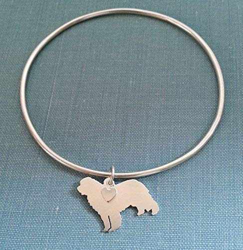 .925 Sterling Silver Newfoundland Dog Bangle Bracelet Newfie Charm Bracelet