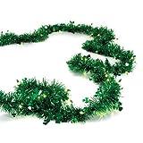 #1: Shamrock Lighted Green Tinsel Garland